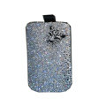 Luxury Bling Holster covers Metal Tiger diamond crystal cases for iPhone 4G - White