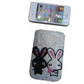 Luxury Bling Holster covers Rabbit diamond crystal cases for iPhone 4G - Pink