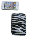Luxury Bling Holster covers Zebra Grain Horizontal diamond crystal cases for iPhone 4G - Black