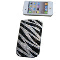 Luxury Bling Holster covers Zebra Grain Slash diamond crystal cases for iPhone 4G - Black