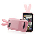 Imak Rabbit covers Bunny cases for Motorola MB525 Defy ME525 - Pink (+High transparent screen protector)
