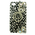 Bling Swarovski Hairpin Circle diamond crystal cases covers for iPhone 4G - Black