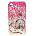 Bling Swarovski Heart Joey covers diamond crystal cases for iPhone 4G - Pink