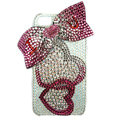 Bling Swarovski Heart bowknot covers diamond crystal cases for iPhone 4G - Red