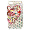 Bling Swarovski Heart covers diamond crystal cases for iPhone 4G - Red
