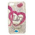 Bling Swarovski lovers Heart covers diamond crystal cases for iPhone 4G - Rose