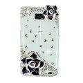 Bling Black Flowers Swarovski crystals diamond cases covers for Samsung i9100 Galasy S II S2 - White