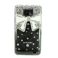 Bling Bowknot Swarovski crystals diamond cases covers for Samsung i9100 Galasy S II S2 - White