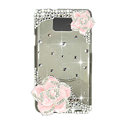 Bling Camellia Swarovski crystals diamond cases transparency covers for Samsung i9100 Galasy S II S2 - Pink