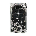 Bling Flowers Swarovski crystals diamond cases transparency covers for Samsung i9100 Galasy S II S2 - Black