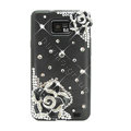 Bling Flowers Swarovski crystals diamond silicone cases covers for Samsung i9100 Galasy S II S2 - Black
