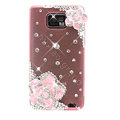 Bling Flowers Swarovski crystals diamond silicone cases covers for Samsung i9100 Galasy S II S2 - Pink