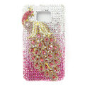 Bling Peacock Swarovski crystals diamond cases covers for Samsung i9100 Galasy S II S2 - Pink