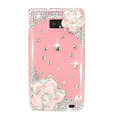 Bling Pink Camellia Flowers Swarovski crystals diamond cases covers for Samsung i9100 Galasy S II S2 - Pink