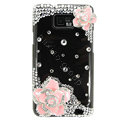 Bling Pink Flowers Swarovski crystals diamond cases covers for Samsung i9100 Galasy S II S2 - Black