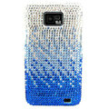 Bling Swarovski crystals diamond cases covers for Samsung i9100 Galasy S II S2 - Gradient Blue