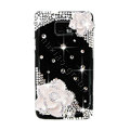 Bling White Flowers Swarovski crystals diamond cases covers for Samsung i9100 Galasy S II S2 - Black