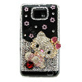 Bling hello kitty Swarovski crystals diamond cases covers for Samsung i9100 Galasy S II S2 - Pink