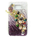 Magpies bling Swarovski crystals diamond cases covers for Samsung i9100 Galasy S II S2 - Purple