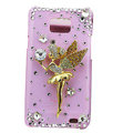 Angel girl bling Swarovski crystals cases covers for Samsung i9100 Galasy S II S2 - Pink