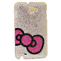 Bling Bow Swarovski crystals diamond cases covers for Samsung Galaxy Note I9220 - Pink