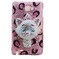 Bling Cat Swarovski crystals diamond cases covers for Samsung Galaxy Note I9220 - Pink