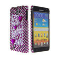 Bling Heart crystals diamond cases covers for Samsung Galaxy Note I9220 - Purple