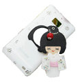 Bling Japanese kimono doll crystals cases covers for Samsung i9100 Galasy S II S2 - White