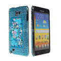 Bling flower 3D crystals diamond cases covers for Samsung Galaxy Note I9220 - Blue
