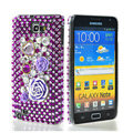 Bling flower 3D crystals diamond cases covers for Samsung Galaxy Note I9220 - Purple