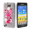 Bling flower 3D crystals diamond cases covers for Samsung Galaxy Note I9220 - Rose