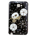 Bling flowers crystals diamond cases covers for Samsung Galaxy Note I9220 - Black
