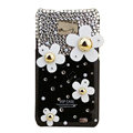 Flowers bling Swarovski crystals diamonds cases covers for Samsung i9100 Galasy S II S2 - Black