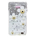 Flowers bling Swarovski crystals diamonds cases covers for Samsung i9100 Galasy S II S2 - White