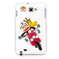 Mouth monkey Motorcycle silicone cases covers for Samsung Galaxy Note i9220 N7000 - White