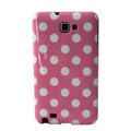 Polka Dot silicone cases covers for Samsung Galaxy Note i9220 N7000 - Pink