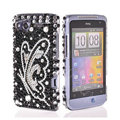 Bling Butterfly crystals diamond cases covers for HTC Salsa G15 C510e - Black