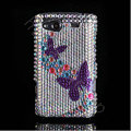 Bling Butterfly crystals diamond cases covers for HTC Salsa G15 C510e - Purple