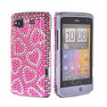 Bling Heart crystals diamond cases covers for HTC Salsa G15 C510e - Pink