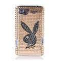 Bling Playboy crystals diamond cases covers for HTC Salsa G15 C510e - Brown