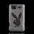 Bling Playboy crystals diamond cases covers for HTC Salsa G15 C510e - White