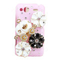 Bling Pumpkin flowers crystals diamond cases covers for HTC Salsa G15 C510e - Pink