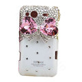 Bling bowknot Swarovski crystals diamond cases covers for HTC Salsa G15 C510e - White