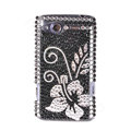Bling flower crystals diamond cases covers for HTC Salsa G15 C510e - Black