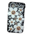Bling flower pearl crystals diamond cases covers for HTC Incredible S S710e G11 - Black
