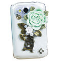 Bling flowers crystals diamond cases covers for HTC Salsa G15 C510e - Green
