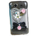 Bling heart flowers crystals diamond cases covers for HTC Salsa G15 C510e - Pink