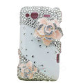 Bling pink flowers Swarovski crystals diamond cases covers for HTC Salsa G15 C510e - White