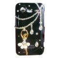 Ballet girl bling crystals diamonds cases covers for HTC Incredible S S710e G11 - Black