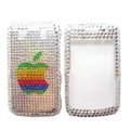 Bling Apple crystals cases diamond covers for Blackberry Bold 9700 - White
